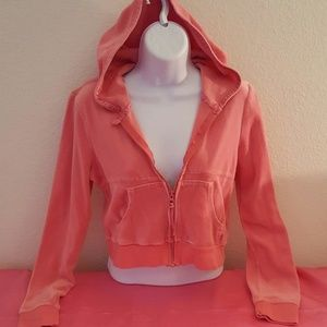 Cute Coral Pink Velour Cropped Jacket